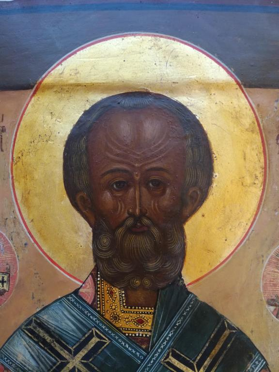 Продать икону Николая Чудотворца. Палех. Школа. 19 век